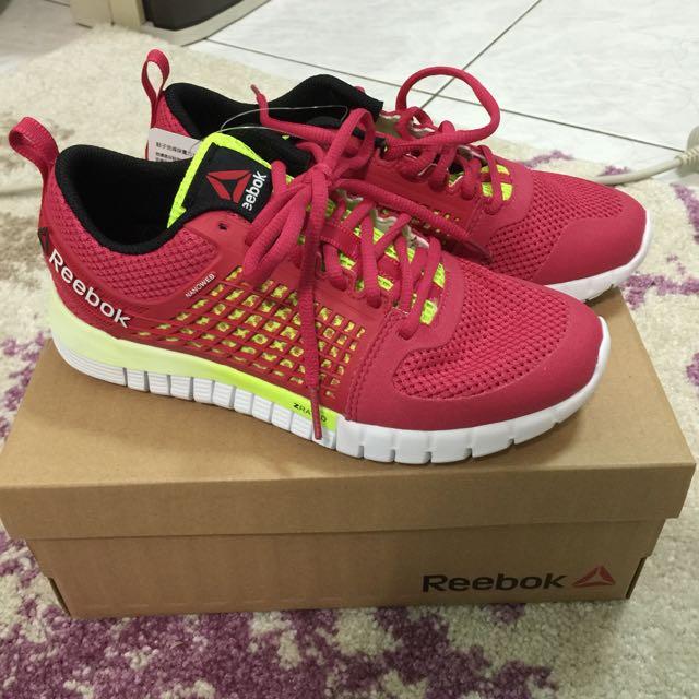 (含運)正品reebok全新 紅x螢光黃慢跑鞋23cm