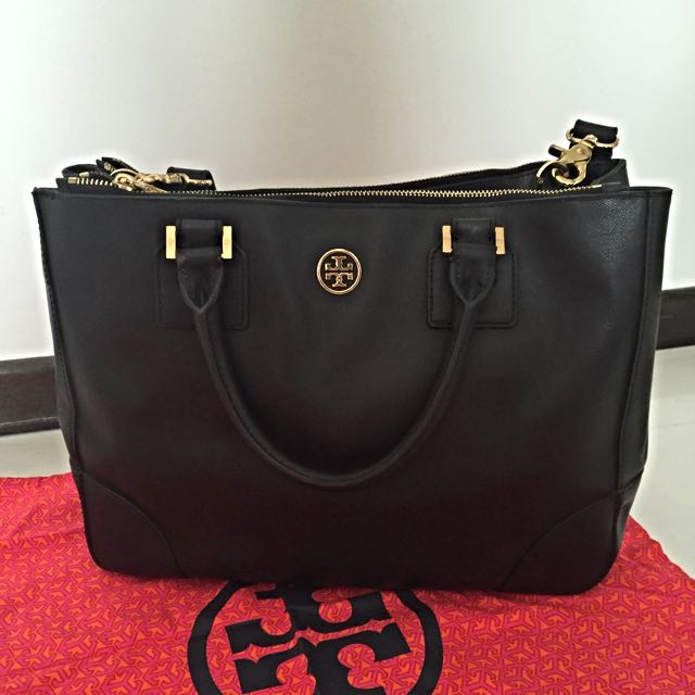 782517738e6 Tory Burch Double Zip Robinson Tote with strap
