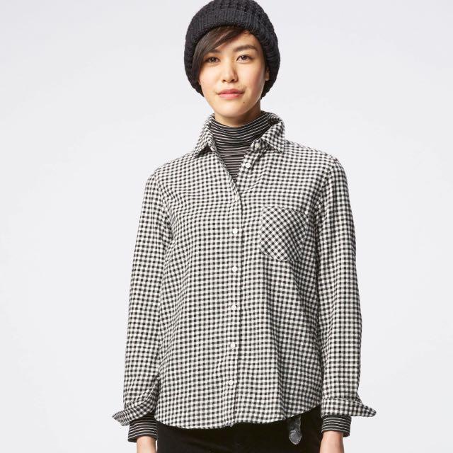 Uniqlo 法蘭絨黑白格紋襯衫