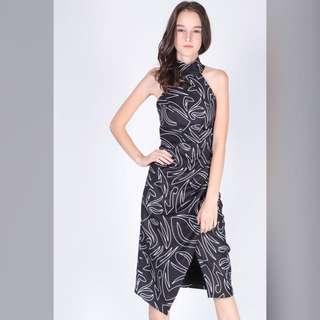 High Neck Wrap Printed Midi Dress (Dressabelle)