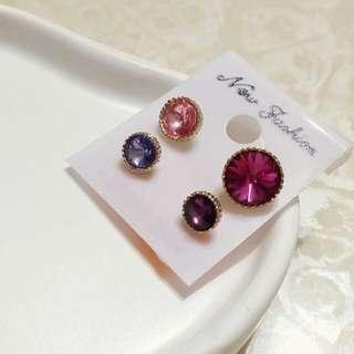四色亮鑽耳環