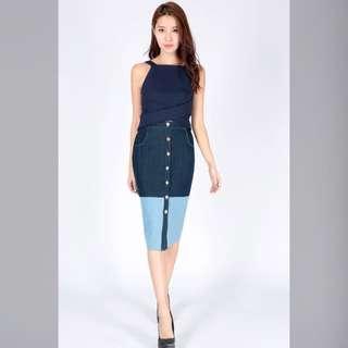 Denim Colourblock Midi Skirt (Dressabelle)