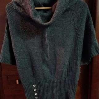 寬鬆領五分袖毛衣