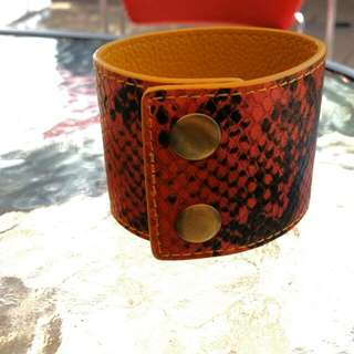 Leather Faux Snake Skin Cuff