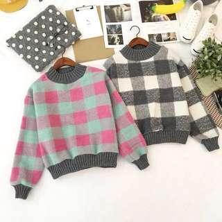 韓版彩色格子毛衣