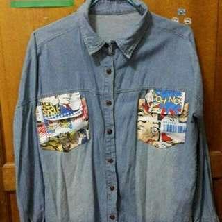 二手美國漫畫口袋牛仔外套 出清200含運賣