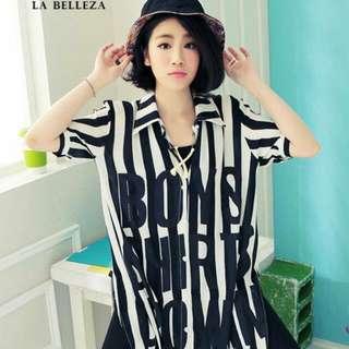 含運古著 BOYS黑白直條英文雪紡長襯衫-La Belleza