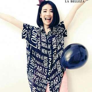 含運古著 滿版英文字下擺打結雪紡襯衫-La Belleza