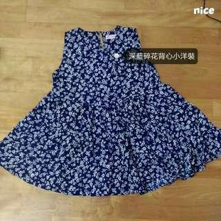 (含運)深藍碎花背心小洋裝