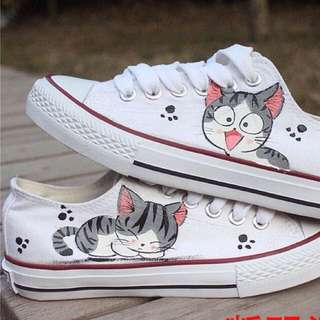 Meow    Hand Painted Shoes