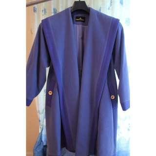 VINTAGE 80s Purple Wool Coat with Double Lapel (Size M) - classic, feminine, timeless, classy, formal, cold winter coat, cream purple, posh