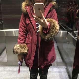 酒紅色羔羊毛內裡大毛領大衣