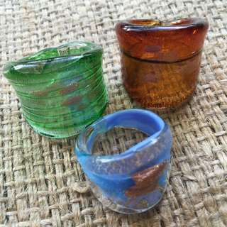 Set Of 3 Hand-made Glass Rings