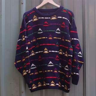 🚚 vintage 北歐幾何三角立體編織紋古著毛衣 sw21