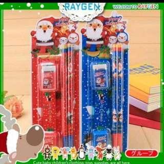 ʕ•ﻌ•ʔ庭庭ʕ•ﻌ•ʔ 卡通聖誕老人文具5件組 聖誕禮物 不挑款