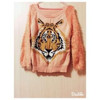 老虎頭粉色針織上衣