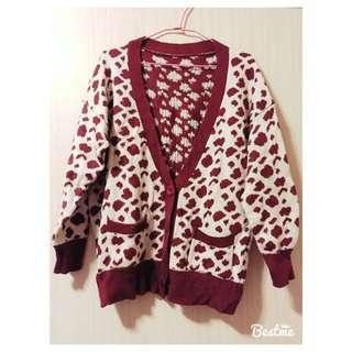 酒紅豹紋針織外套
