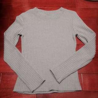 ✨小高領灰色抗條針織衫 中高領半高領韓系日系✨春裝 百搭 #轉轉來交換 #一百元上衣