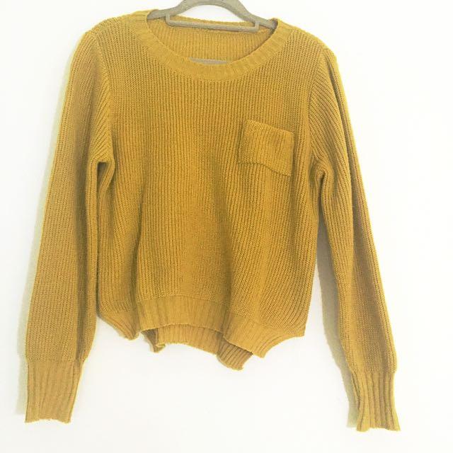 芥末黃口袋毛衣