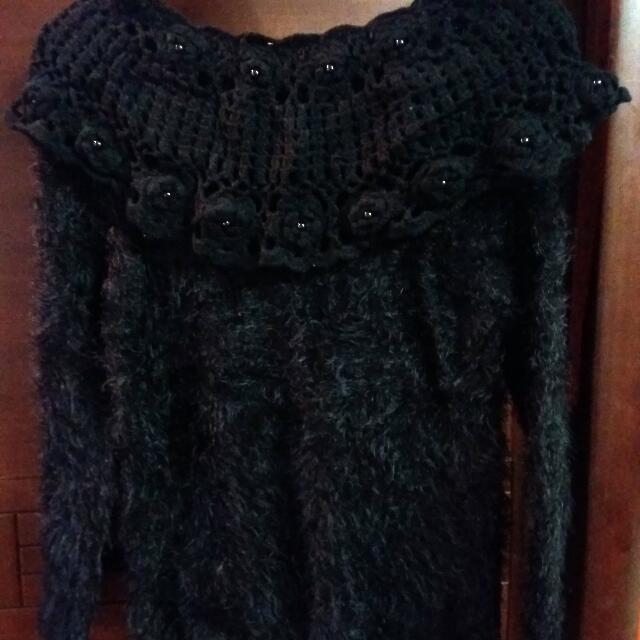 一字毛線編織領毛衣