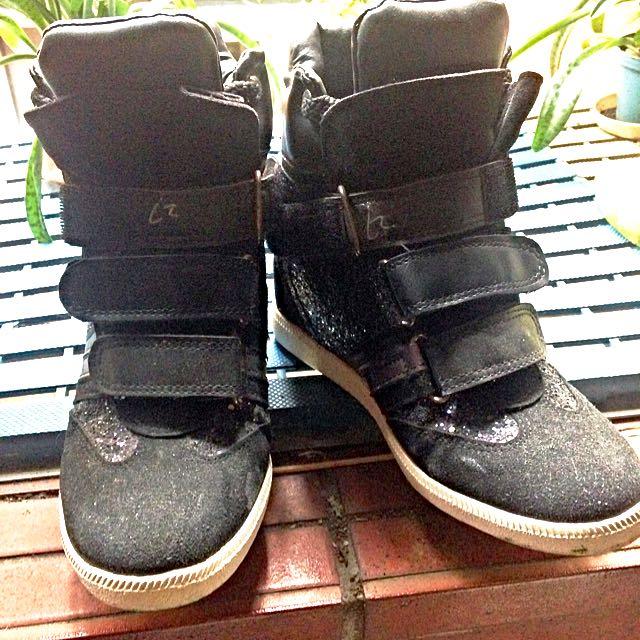 亮片黑黏式內增高鞋
