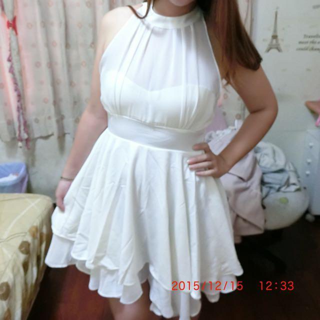 全新削肩燕尾裙洋裝