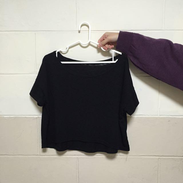 短版黑上衣(可斜肩)