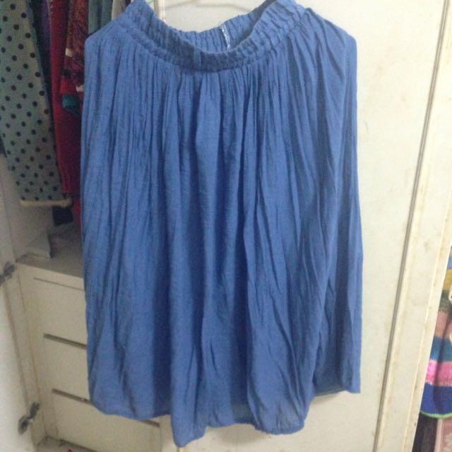 伸縮藍色長裙