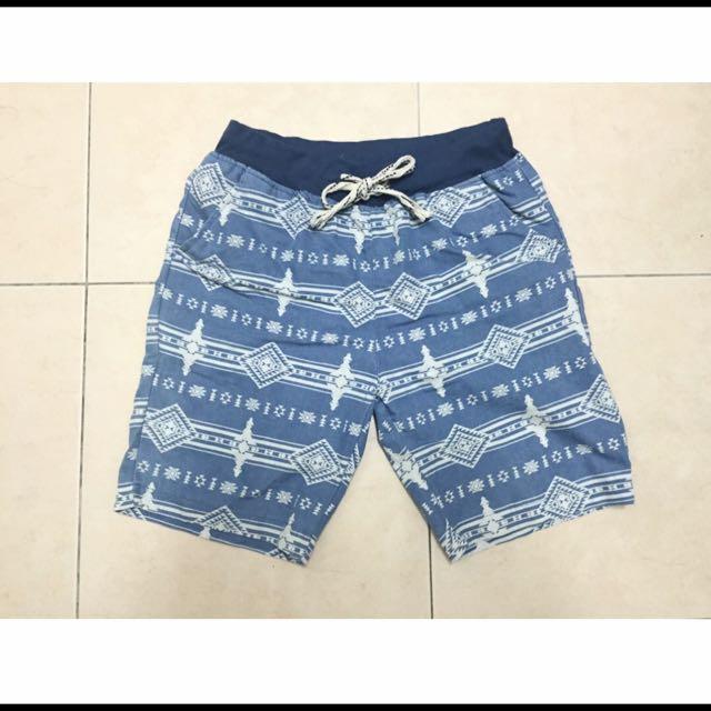 圖騰水藍色短褲