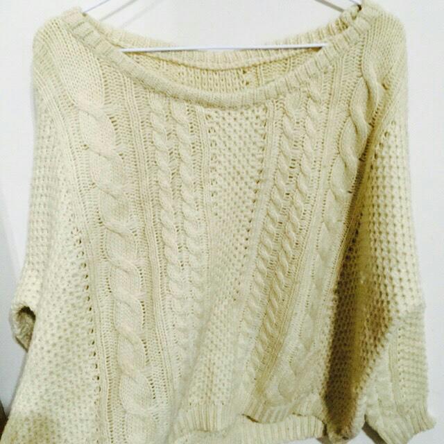 杏色 麻花 粗針織 毛衣