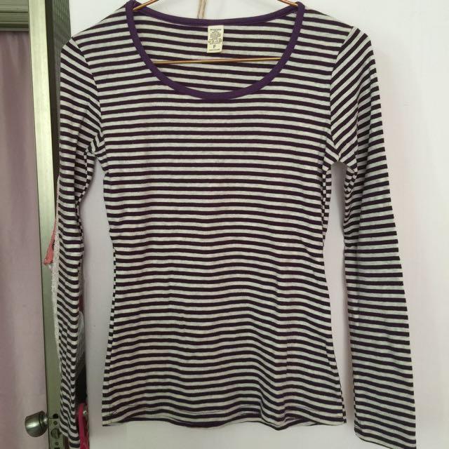 韓 紫色 條紋 棉質上衣