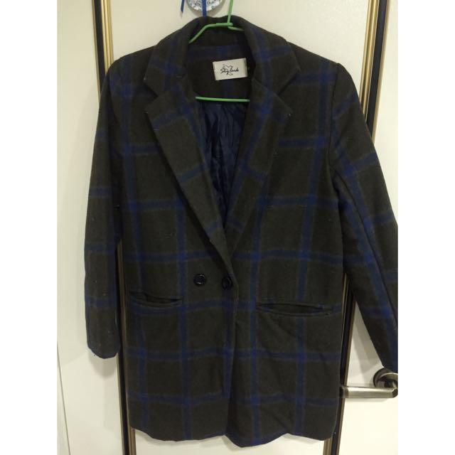 (二手)西裝 厚大衣 長版 綠格 厚外套