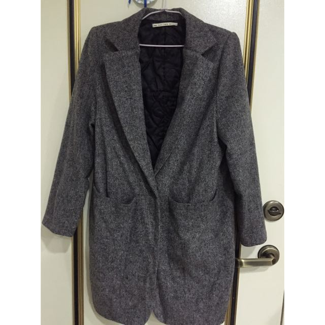 (二手)西裝 長版 厚大衣 外套 灰 毛呢