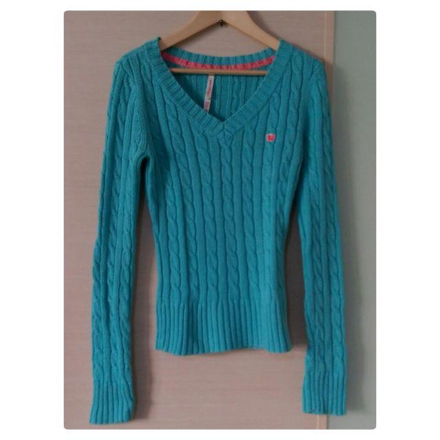 美國購入 Aeropostale 正品 V領針織衫 V領毛衣 水藍色