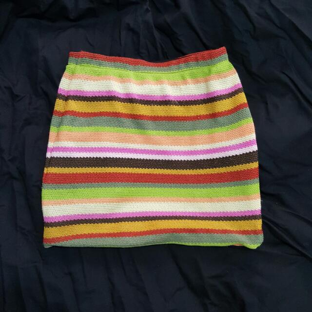 COTTON ON SIZE XS Multi Coloured Skirt Worned Twice Orange, Green Yellow Etc