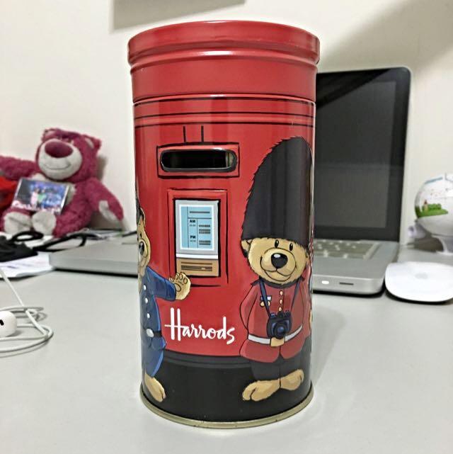 免運!英國Harrods泰迪熊存錢筒