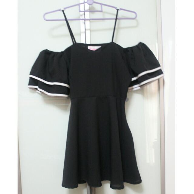 Monochrome Cold Shoulder Dress