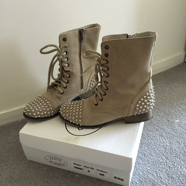 02eed7ac941 Steve Madden Tarnney Combat Studded Boots Taupe, Women's Fashion on ...