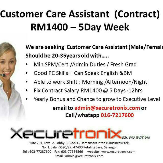 Vacancy - Customer Care Asst At Petaling Jaya