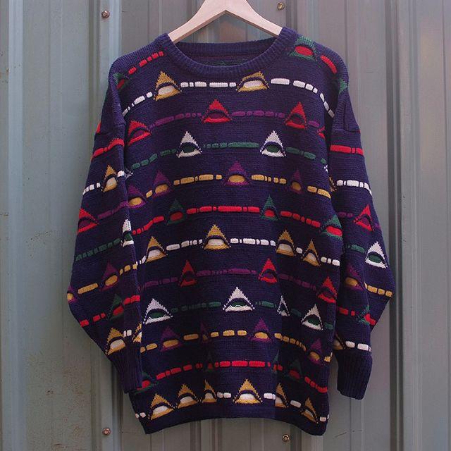 vintage 北歐幾何三角立體編織紋古著毛衣 sw21