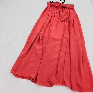 🔸莓紅色雪紡長裙附綁帶🔸