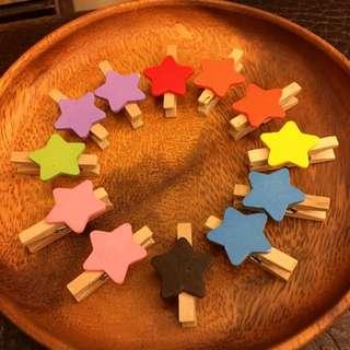 彩色星星造型木夾 照片 裝飾 婚禮 書籤 小物