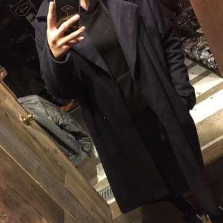 長板毛呢大衣外套