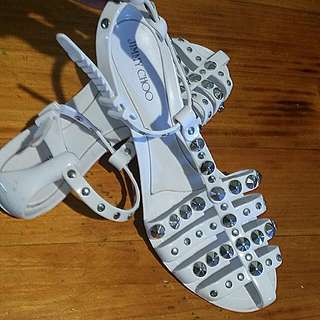 Authentic jimmy Choo Studded Jelly Sandals W Adjustsble Strap Size 38 Worn Once