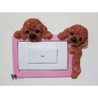 紅色 貴賓犬 立體 造型 狗狗 插座 插頭 開關 貼/罩 裝飾