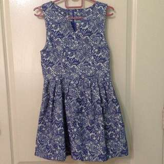 Lace Blue Empire Waist Dress