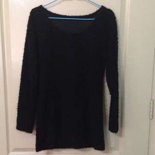 Long Sleeved Woolly Black Sweater Dress