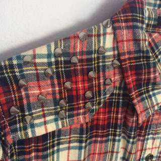 Forever21 Flannel Shirt With Spikes