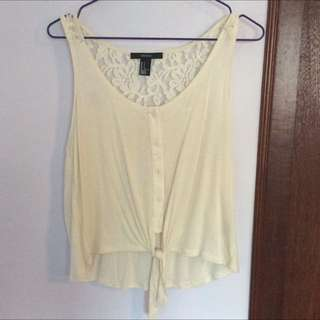 Forever21 Waist-Tie Sleeveless Top With Lace