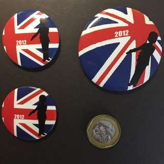 London Olympics 2012 Bean Pole button badges Korean.